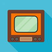 Television icon with long shadow. flat style vector illustration — Stock Vector