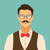 Flat hipster character — Stock Vector