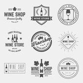 Şarap dükkanı etiket, rozetleri kümesi — Stok Vektör