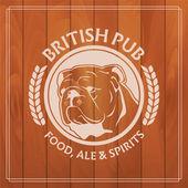 Brittisk pub etikett på trä bakgrund — Stockvektor