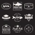 Vector set of fresh fish labels — Stock Vector #78295232