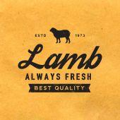 Premium lamb label with grunge texture — Stock Vector