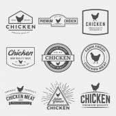 Vector set of premium chicken meat labels — Stock Vector