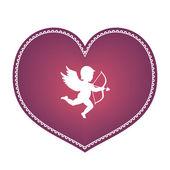 Cuore con Cupido — Vettoriale Stock