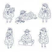 Sheep new year doodle vector — Stock vektor