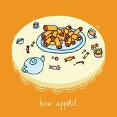 Baking vector bon appetite teatime — Stock Vector