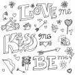 Valentines day kiss love doodle vector — Stok Vektör #63185995
