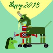 Green goat robot New Year 2015 congrats card — Stock Vector