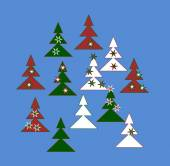 Decorative trees in white, red and green colors with stars — Vector de stock