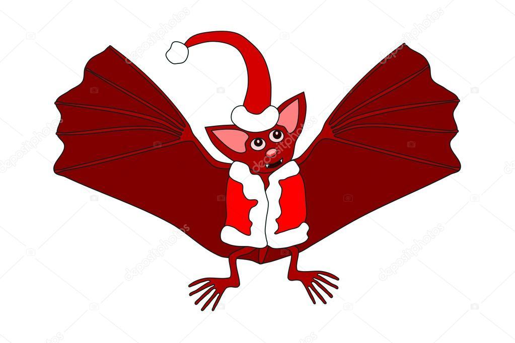 빨간 모자와 화이트 모피 트리밍 조끼에 빨강 박쥐 — 스톡 벡터 ...