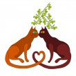 Two cats kiss under the mistletoe — Stock Vector #59724351