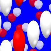 Red white party balloons seamless pattern on blue background — Stock Photo