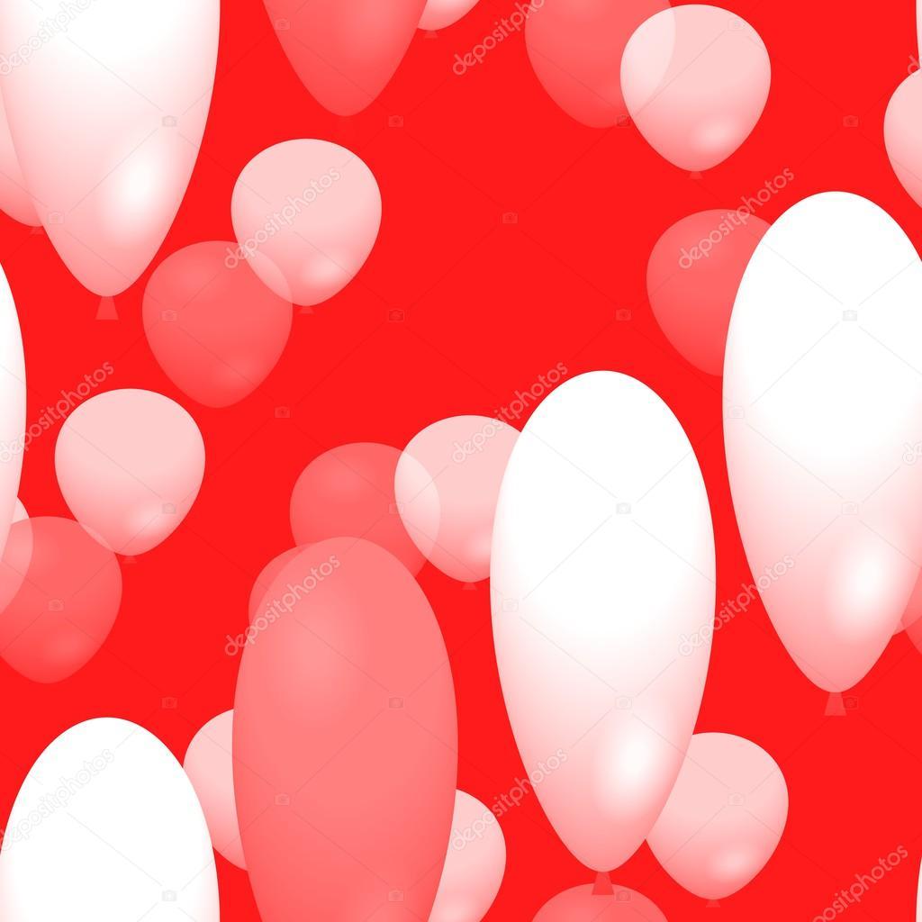 红色背景上的白色和粉红色气球