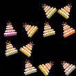 Seamless pattern of sweet birthday cakes isolated on black background — Stock Photo #61645333