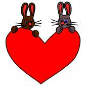 Couple of sad rabbits with big red heart — Stock Vector