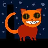 Monster cat on roof at night — Stock Vector