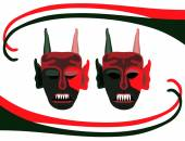 Background with red green scary devils masks — Stock Vector