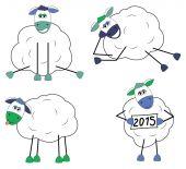 Ensemble de moutons drôle — Vecteur