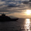 Ferry passing by during sunset to Thassos Greece — Stock Video #53642119