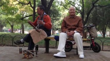 Elderly man playing music in a park, Beijing, Peking, China — Stock Video