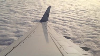 Flying above the clouds with an Egypt Air Airplane — Stock Video