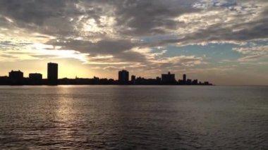 Sunset Havana skyline, Cuba — Stock Video