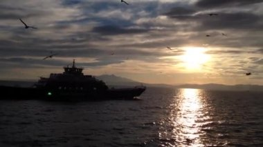 Ferry passing by during sunset to Thassos Greece — Vidéo