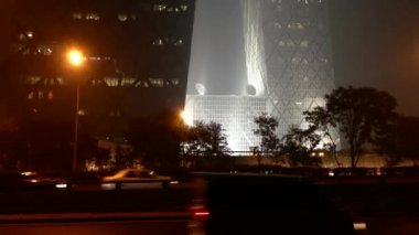 Cctv building in the evening in Beijing, Peking, China — Stock Video