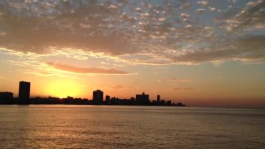 Sunset Havana skyline, Cuba — Stok video