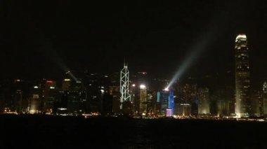 Hongkong panorama světelnou show — Stock video
