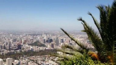 Santiago de Chile city landscape view from the San Cristobal Hill — Stock Video