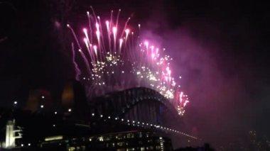 Fireworks from the Sydney Harbour bridge in Australia — Stock Video
