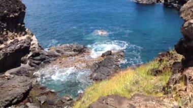 Ana Kai Tangata cave Easter Island, Rapa Nui — Stock Video