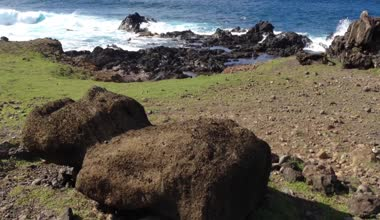 Moai at the ground close to the sea at the Easter Island, Rapa Nui — Wideo stockowe