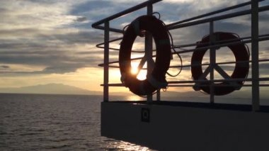 Sunset from the Thassos ferry in Greece — Stock Video
