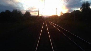 Trans Siberia railway sunset — Stock Video