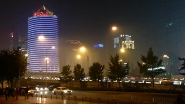 Buildings and traffic downtown Beijing, Peking, China — Stock Video