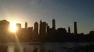 Manhattan skyline sunset, New York City, USA — Stock Video