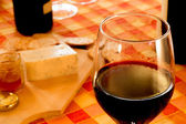Close-up winetasting with cheese and bread — Stock Photo