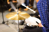 Boy play the drums — Stock Photo