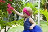 Cute baby-girl in tutu skirt  — Stock Photo