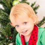 Little girl posing near the christmas tree — Stock Photo #58763865