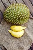 Durian fresh yellow  fruit on wooden background — Stock Photo