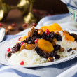 Plov or pilaf with dried fruits — Stock Photo #67207983
