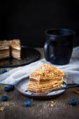 Medovik, russian honey cake — Stock Photo
