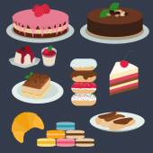 Flat design desserts — Stock Vector