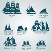Flat Design Silhouette of Ships — Stock Vector