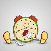 Sleepy Alarm-clock yawns — Stock Vector