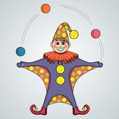 Cartoon of jester juggling balls — Stock Vector