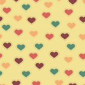 Seamless background with colorful hearts and stitches — Stockvektor